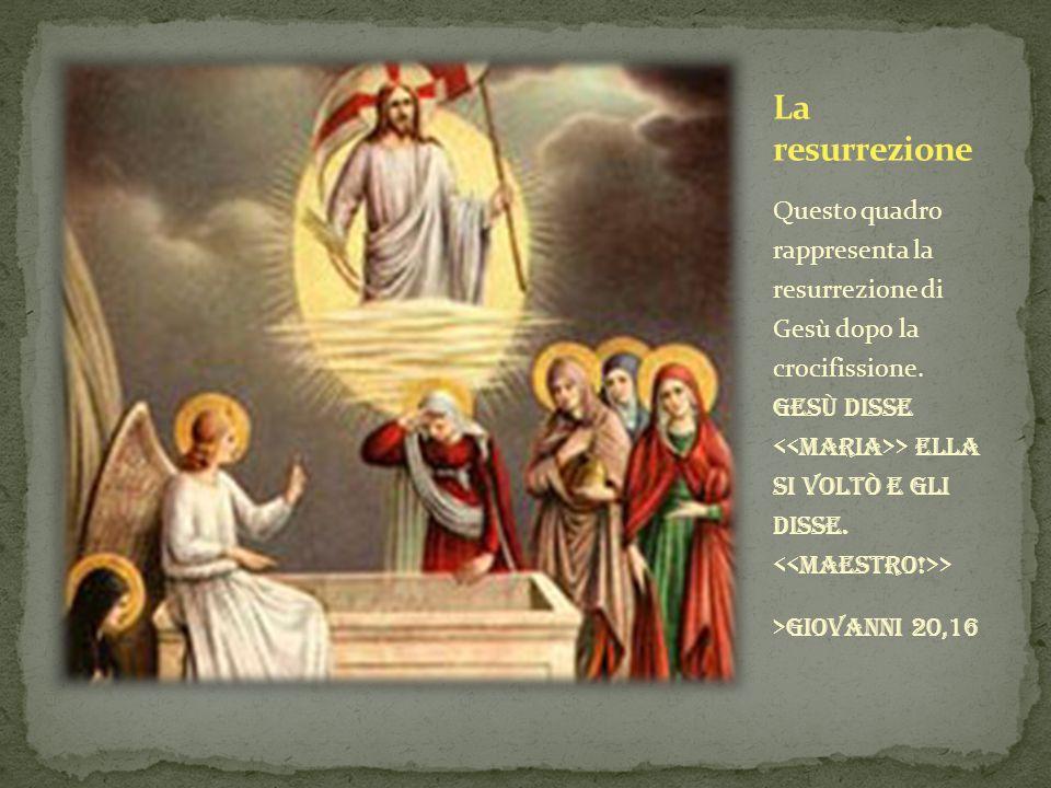 Questo quadro rappresenta la resurrezione di Gesù dopo la crocifissione. Gesù disse > ella si voltò e gli disse. > >giovanni 20,16