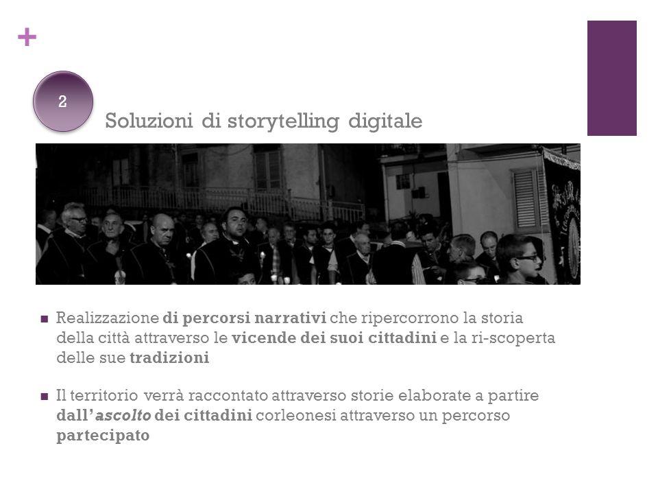 + Soluzioni di storytelling digitale Realizzazione di percorsi narrativi che ripercorrono la storia della città attraverso le vicende dei suoi cittadi