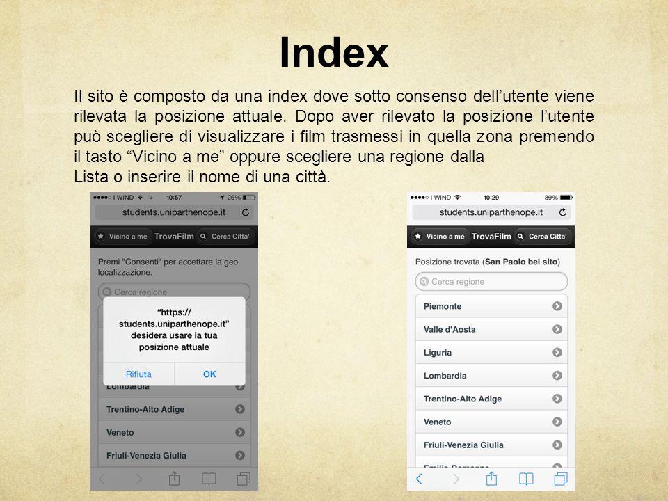 Index Il sito è composto da una index dove sotto consenso dell'utente viene rilevata la posizione attuale.