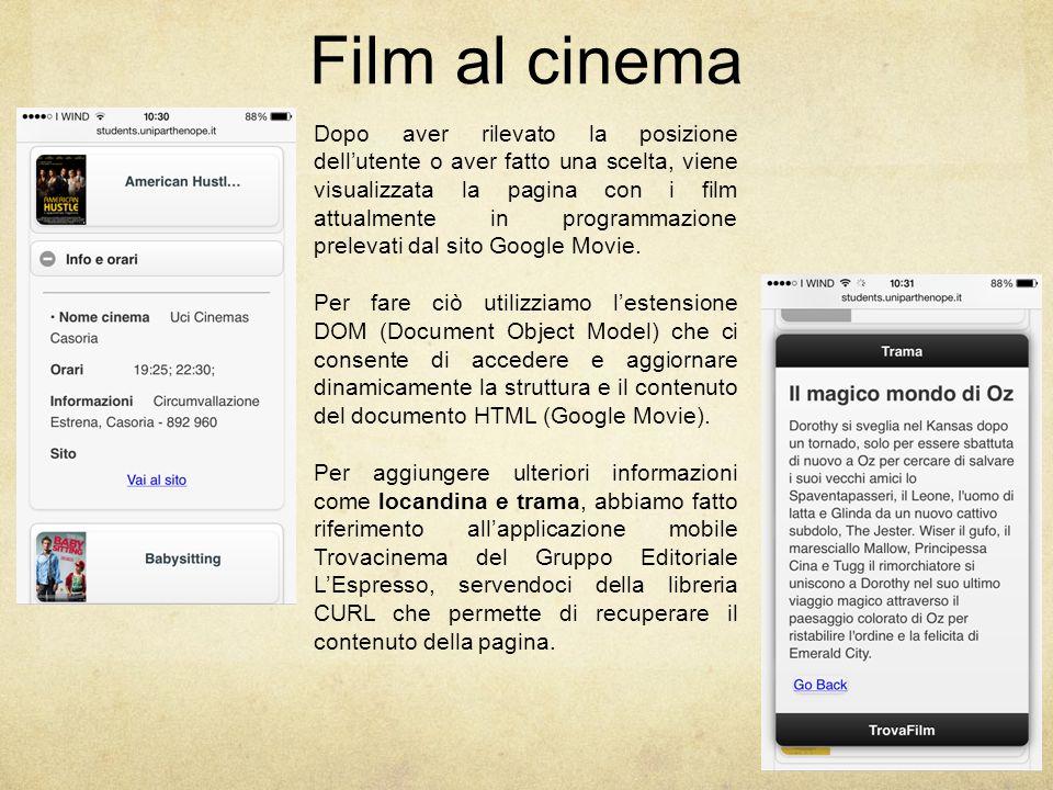 Film al cinema Dopo aver rilevato la posizione dell'utente o aver fatto una scelta, viene visualizzata la pagina con i film attualmente in programmazione prelevati dal sito Google Movie.