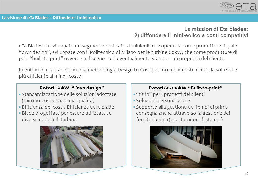10 La mission di Eta blades: 2) diffondere il mini-eolico a costi competitivi eTa Blades ha sviluppato un segmento dedicato al minieolico e opera sia
