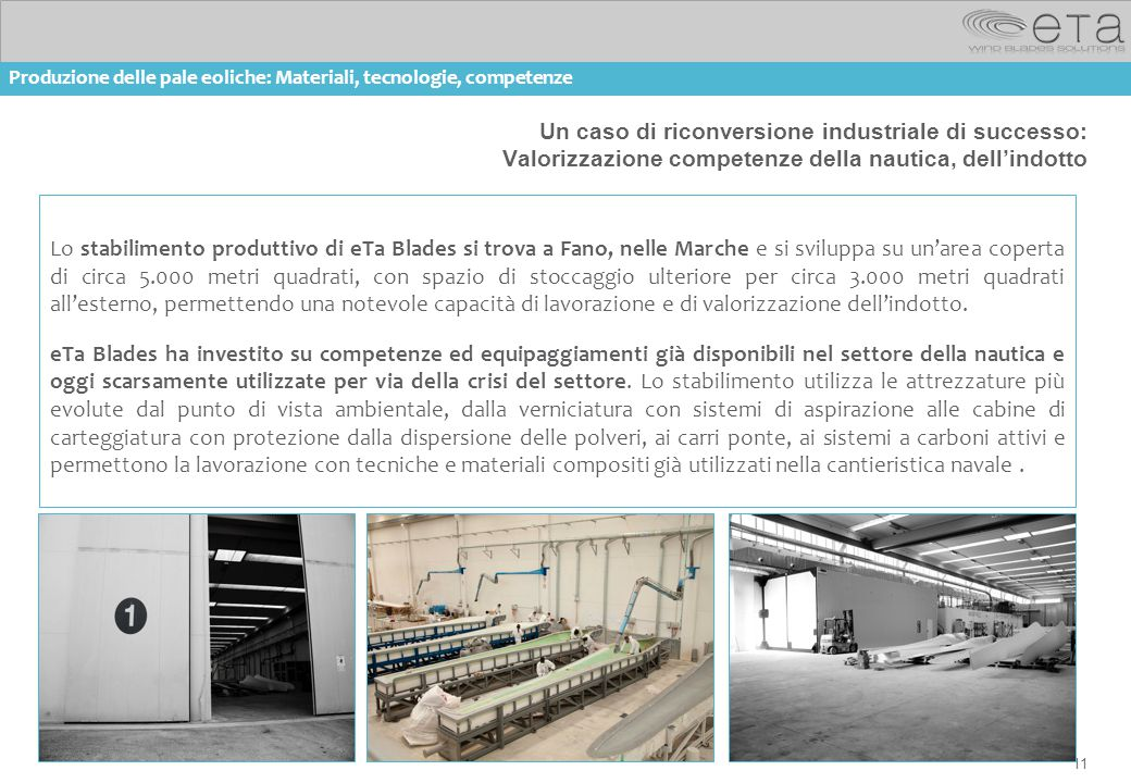 11 Un caso di riconversione industriale di successo: Valorizzazione competenze della nautica, dell'indotto Lo stabilimento produttivo di eTa Blades si