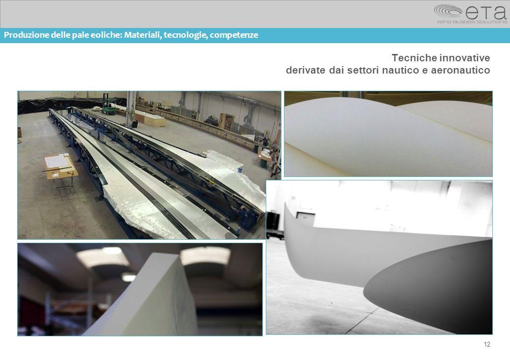 12 Tecniche innovative derivate dai settori nautico e aeronautico Produzione delle pale eoliche: Materiali, tecnologie, competenze