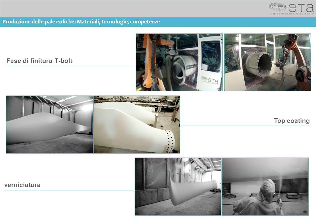 14 materials Fase di finitura T-bolt Top coating verniciatura Produzione delle pale eoliche: Materiali, tecnologie, competenze