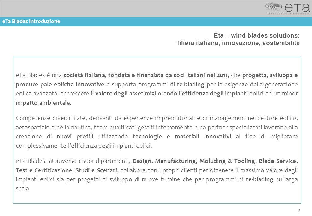 2 Eta – wind blades solutions: filiera italiana, innovazione, sostenibilità eTa Blades è una società italiana, fondata e finanziata da soci italiani n