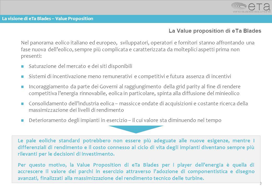 3 La Value proposition di eTa Blades Nel panorama eolico italiano ed europeo, sviluppatori, operatori e fornitori stanno affrontando una fase nuova de