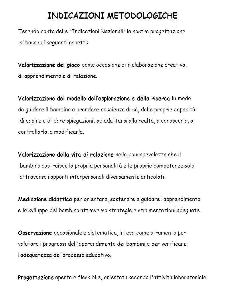 """INDICAZIONI METODOLOGICHE Tenendo conto delle """"Indicazioni Nazionali"""" la nostra progettazione si basa sui seguenti aspetti: Valorizzazione del gioco c"""