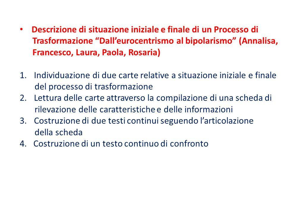 """Descrizione di situazione iniziale e finale di un Processo di Trasformazione """"Dall'eurocentrismo al bipolarismo"""" (Annalisa, Francesco, Laura, Paola, R"""
