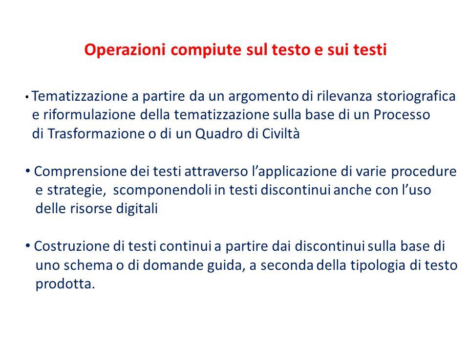 Operazioni compiute sul testo e sui testi Tematizzazione a partire da un argomento di rilevanza storiografica e riformulazione della tematizzazione su