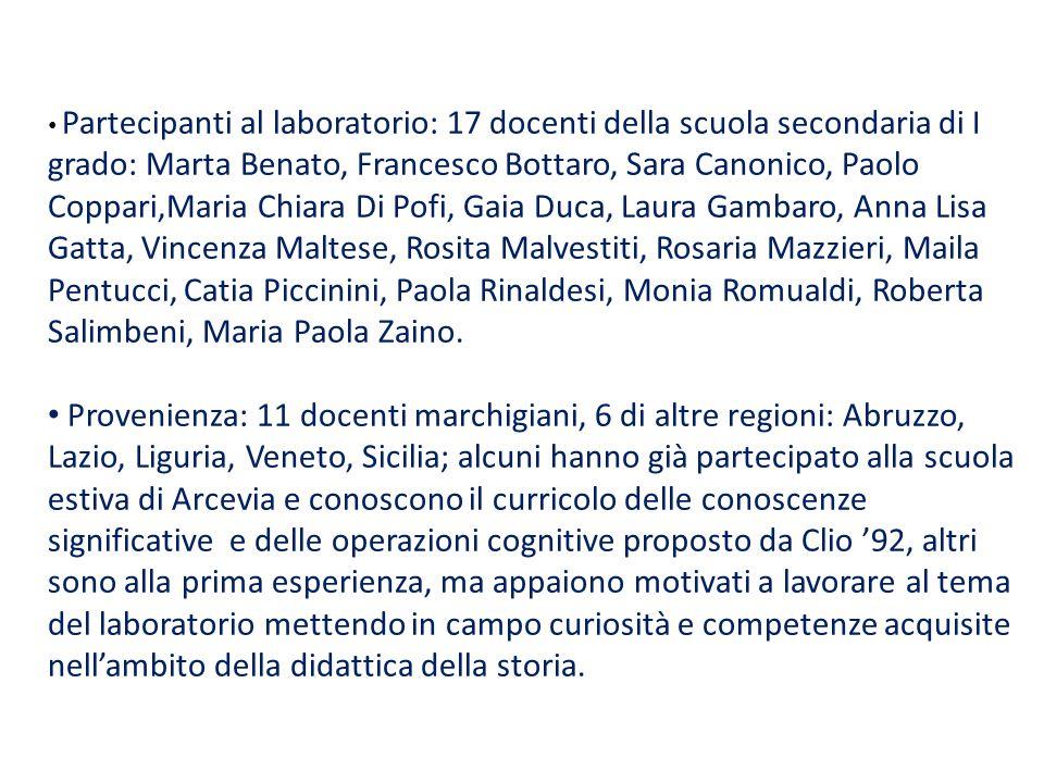 Partecipanti al laboratorio: 17 docenti della scuola secondaria di I grado: Marta Benato, Francesco Bottaro, Sara Canonico, Paolo Coppari,Maria Chiara