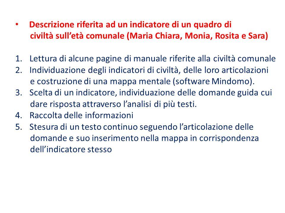 Descrizione riferita ad un indicatore di un quadro di civiltà sull'età comunale (Maria Chiara, Monia, Rosita e Sara) 1.Lettura di alcune pagine di man
