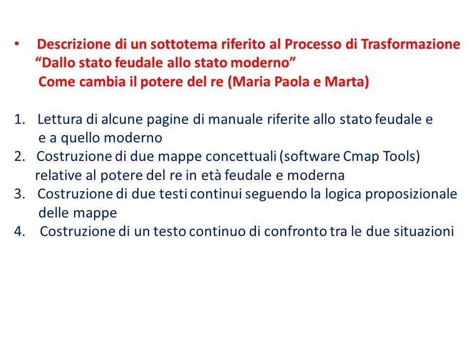 """Descrizione di un sottotema riferito al Processo di Trasformazione """"Dallo stato feudale allo stato moderno"""" Come cambia il potere del re (Maria Paola"""