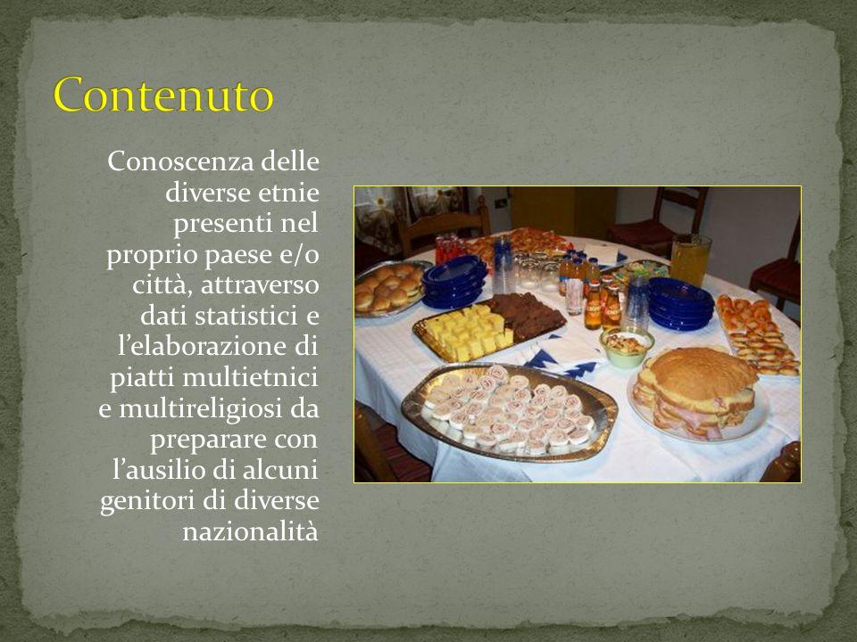 Conoscenza delle diverse etnie presenti nel proprio paese e/o città, attraverso dati statistici e l'elaborazione di piatti multietnici e multireligios