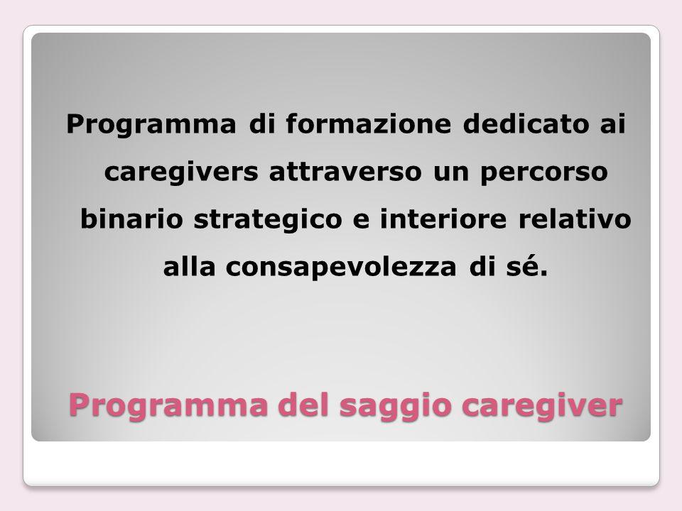 Programma del saggio caregiver Programma di formazione dedicato ai caregivers attraverso un percorso binario strategico e interiore relativo alla cons