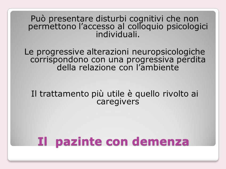 Il pazinte con demenza Può presentare disturbi cognitivi che non permettono l'accesso al colloquio psicologici individuali. Le progressive alterazioni