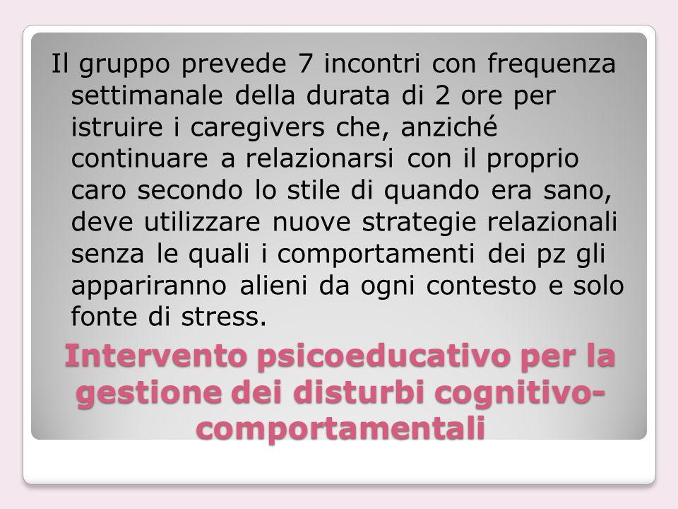 Intervento psicoeducativo per la gestione dei disturbi cognitivo- comportamentali Il gruppo prevede 7 incontri con frequenza settimanale della durata
