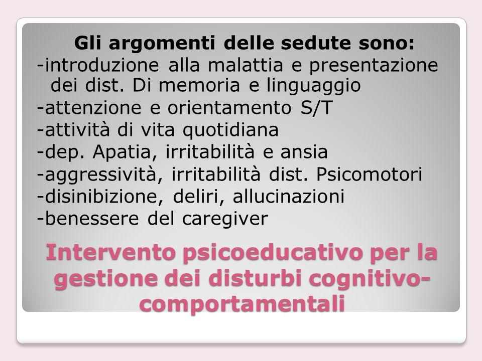 Intervento psicoeducativo per la gestione dei disturbi cognitivo- comportamentali Gli argomenti delle sedute sono: -introduzione alla malattia e prese
