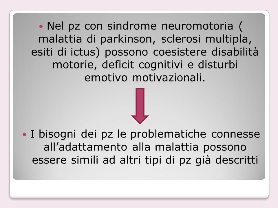 Nel pz con sindrome neuromotoria ( malattia di parkinson, sclerosi multipla, esiti di ictus) possono coesistere disabilità motorie, deficit cognitivi