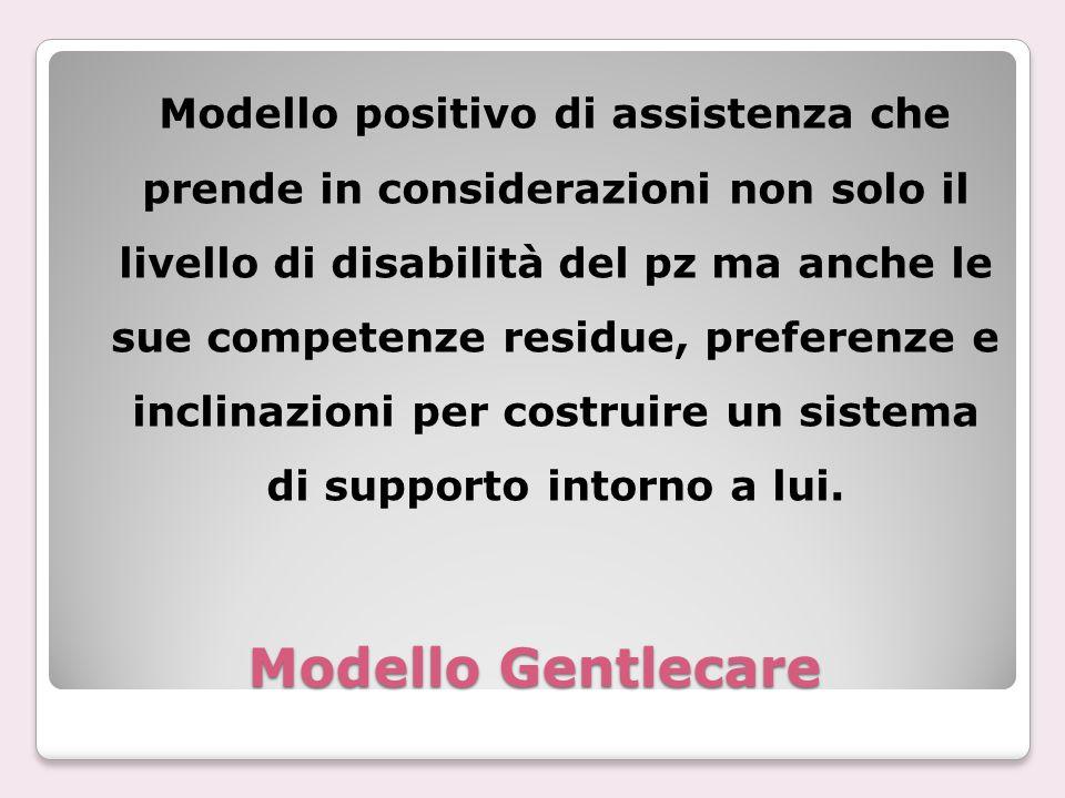 Modello Gentlecare Modello positivo di assistenza che prende in considerazioni non solo il livello di disabilità del pz ma anche le sue competenze res