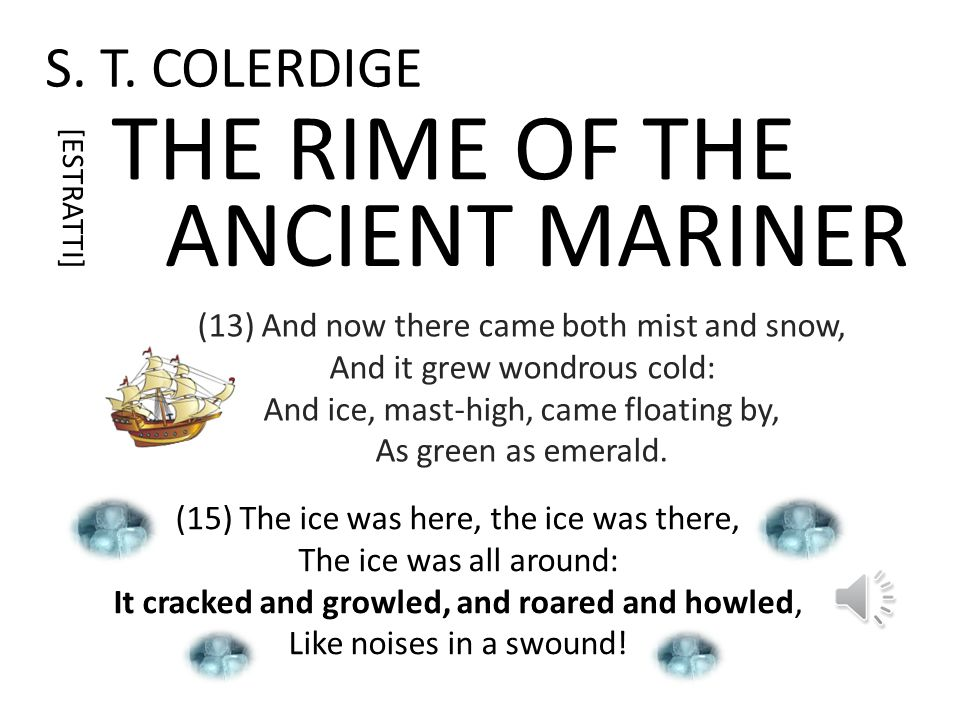 S. T. COLERDIGE THE RIME OF THE (6) The ship was cheered, the harbour cleared, Merrily did we drop Below the kirk, below the hill, Below the lighthous