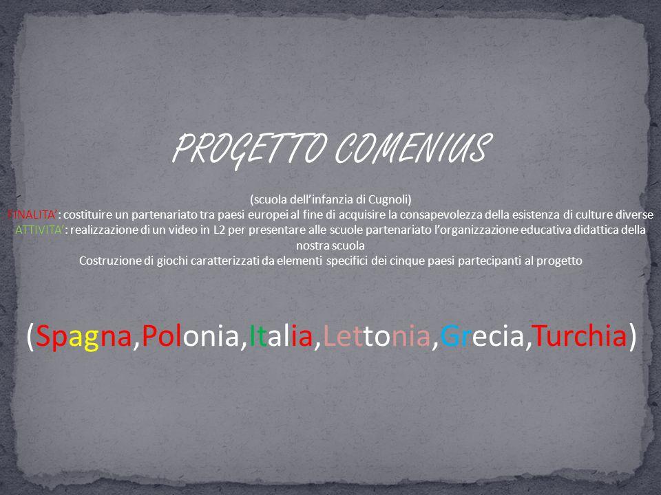 PROGETTO COMENIUS (scuola dell'infanzia di Cugnoli) FINALITA': costituire un partenariato tra paesi europei al fine di acquisire la consapevolezza del