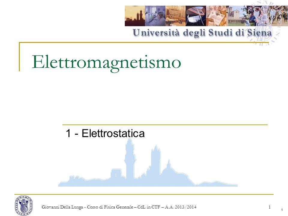 1 Elettromagnetismo 1 - Elettrostatica Giovanni Della Lunga - Corso di Fisica Generale – CdL in CTF – A.A.