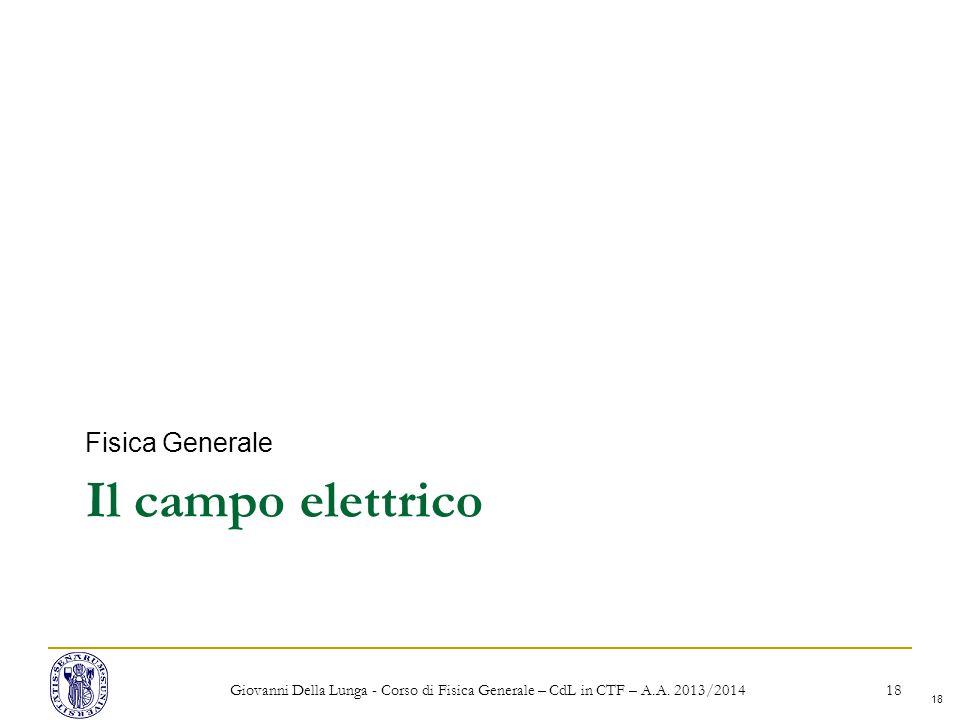 18 Il campo elettrico Fisica Generale Giovanni Della Lunga - Corso di Fisica Generale – CdL in CTF – A.A.