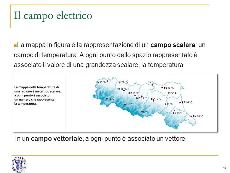 19 Il campo elettrico La mappa in figura è la rappresentazione di un campo scalare: un campo di temperatura.