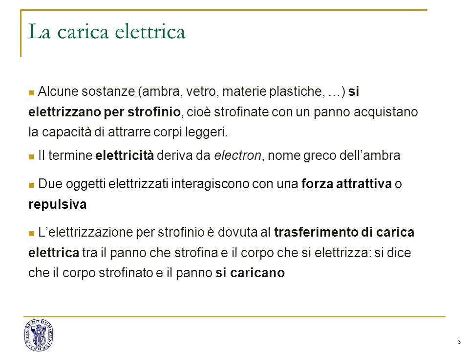 3 La carica elettrica Alcune sostanze (ambra, vetro, materie plastiche, …) si elettrizzano per strofinio, cioè strofinate con un panno acquistano la capacità di attrarre corpi leggeri.