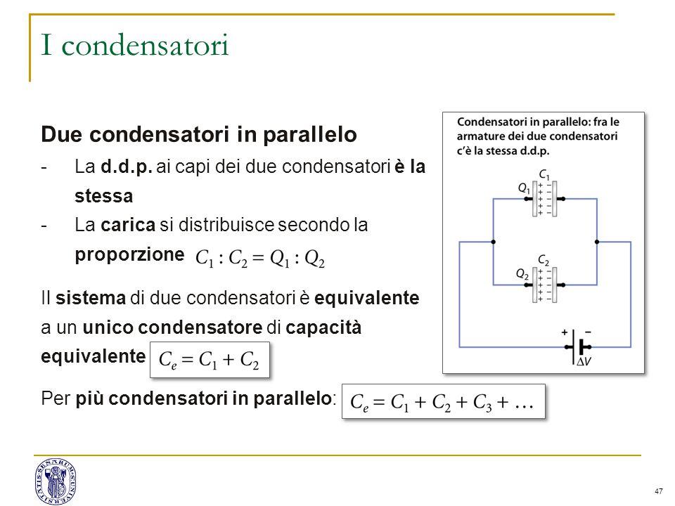 47 I condensatori Due condensatori in parallelo -La d.d.p.