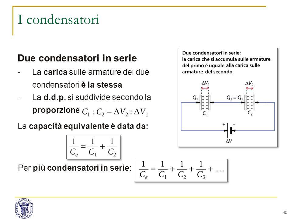 48 I condensatori Due condensatori in serie -La carica sulle armature dei due condensatori è la stessa -La d.d.p.