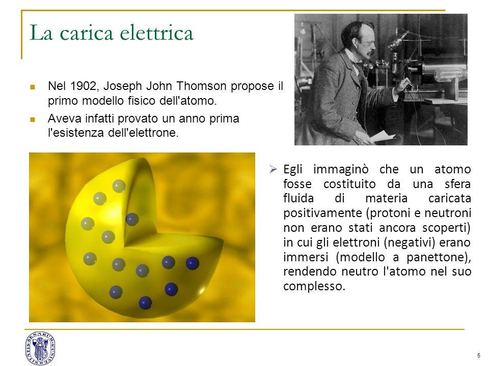 5 La carica elettrica Nel 1902, Joseph John Thomson propose il primo modello fisico dell atomo.
