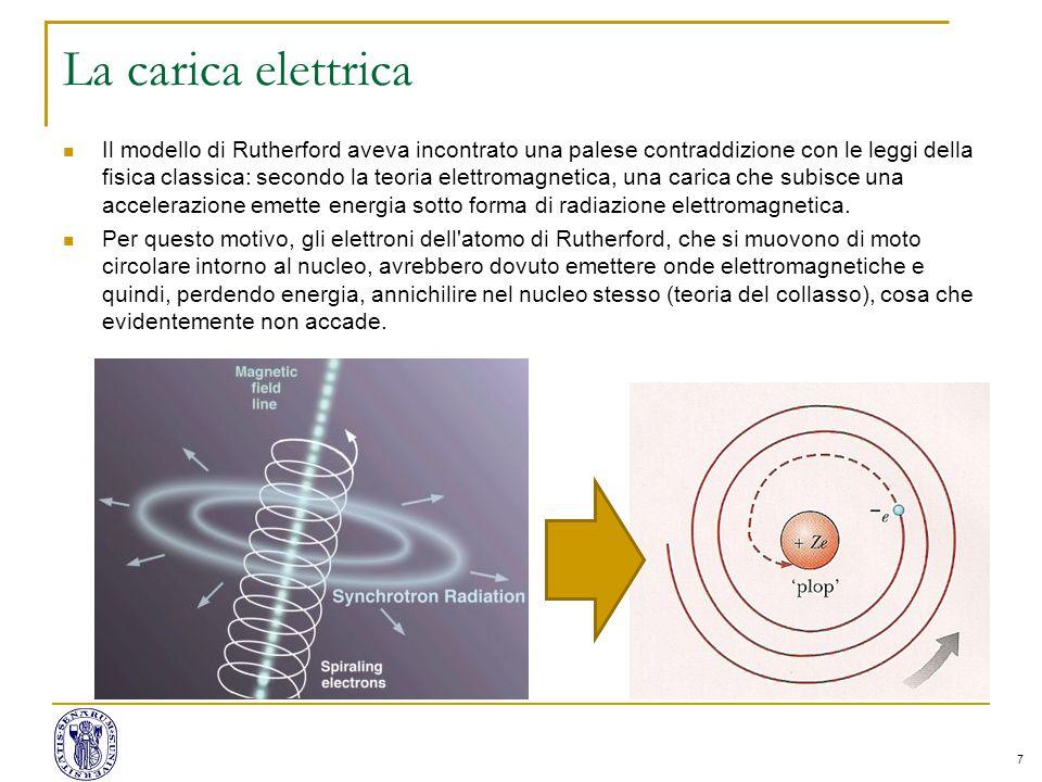 7 La carica elettrica Il modello di Rutherford aveva incontrato una palese contraddizione con le leggi della fisica classica: secondo la teoria elettromagnetica, una carica che subisce una accelerazione emette energia sotto forma di radiazione elettromagnetica.