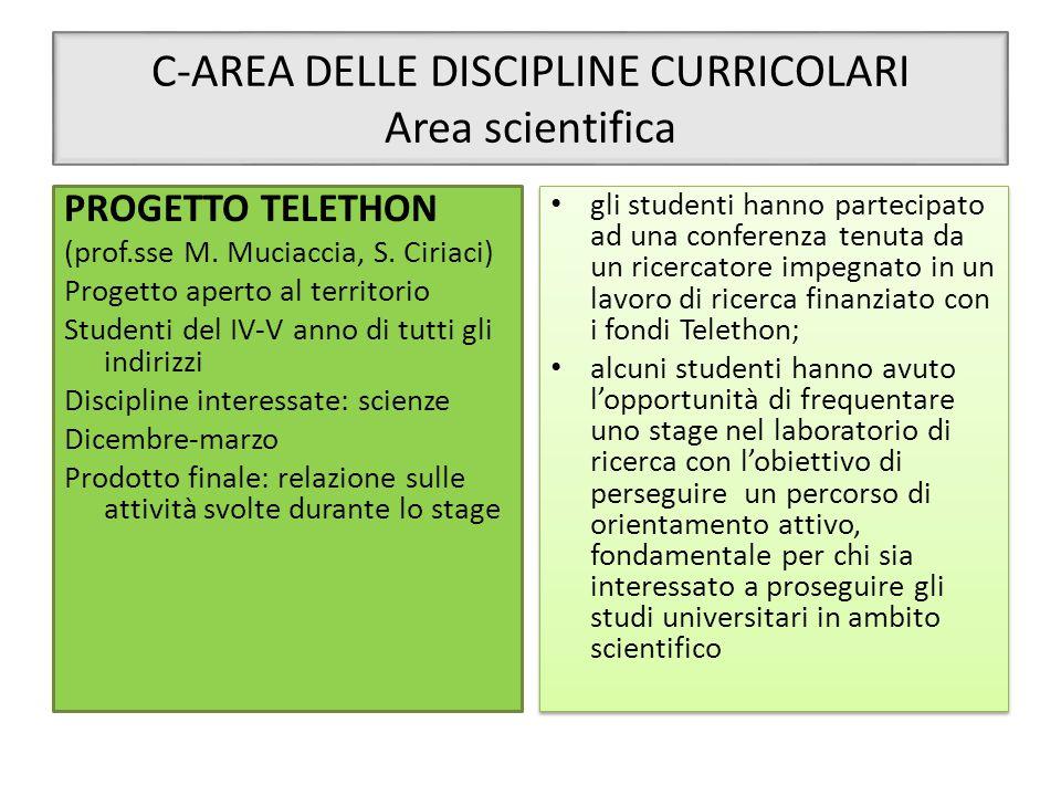 C-AREA DELLE DISCIPLINE CURRICOLARI Area scientifica PROGETTO TELETHON (prof.sse M. Muciaccia, S. Ciriaci) Progetto aperto al territorio Studenti del