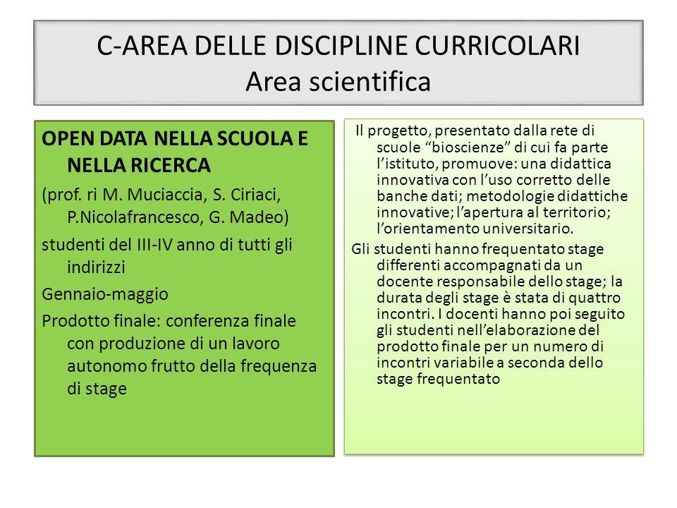 C-AREA DELLE DISCIPLINE CURRICOLARI Area scientifica OPEN DATA NELLA SCUOLA E NELLA RICERCA (prof. ri M. Muciaccia, S. Ciriaci, P.Nicolafrancesco, G.