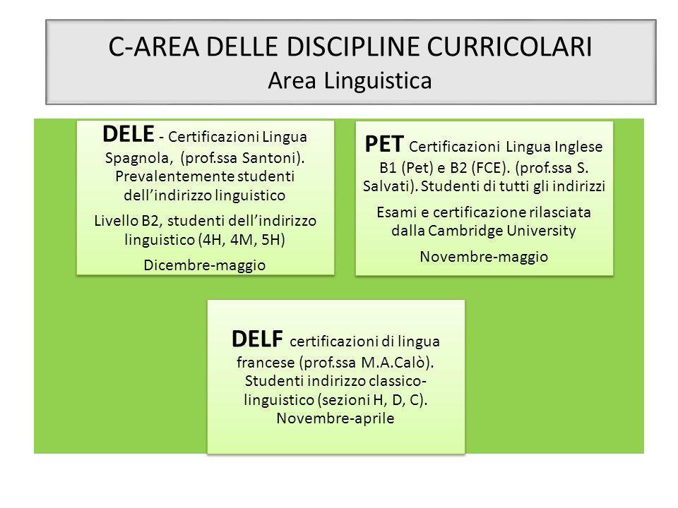 C-AREA DELLE DISCIPLINE CURRICOLARI Area Linguistica DELE - Certificazioni Lingua Spagnola, (prof.ssa Santoni). Prevalentemente studenti dell'indirizz