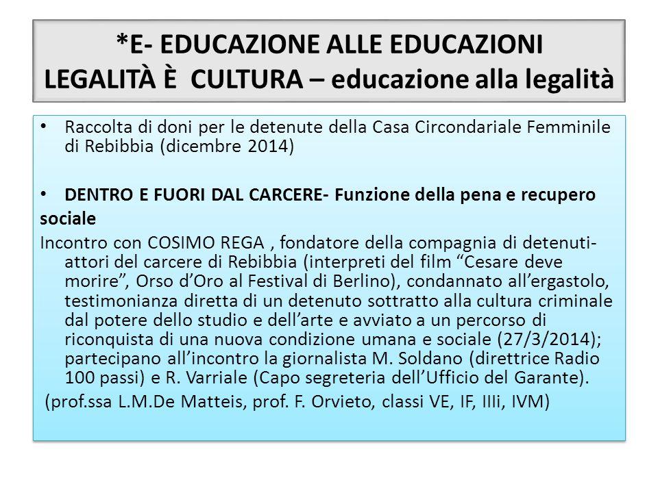 *E- EDUCAZIONE ALLE EDUCAZIONI LEGALITÀ È CULTURA – educazione alla legalità Raccolta di doni per le detenute della Casa Circondariale Femminile di Re