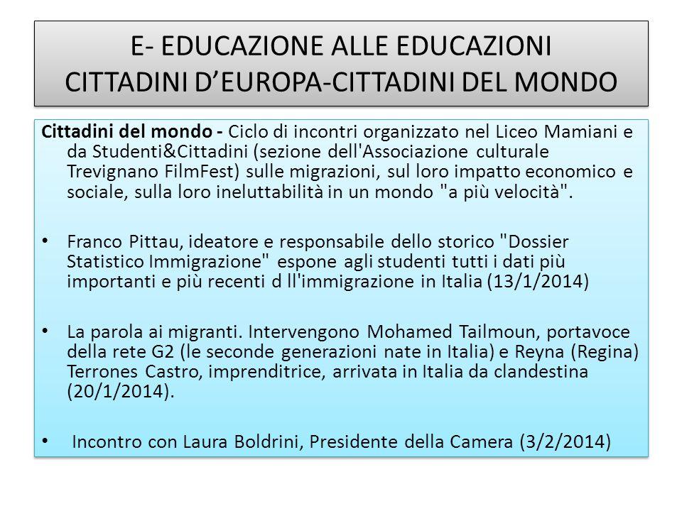 E- EDUCAZIONE ALLE EDUCAZIONI CITTADINI D'EUROPA-CITTADINI DEL MONDO Cittadini del mondo - Ciclo di incontri organizzato nel Liceo Mamiani e da Studen