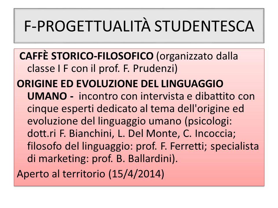 F-PROGETTUALITÀ STUDENTESCA CAFFÈ STORICO-FILOSOFICO (organizzato dalla classe I F con il prof. F. Prudenzi) ORIGINE ED EVOLUZIONE DEL LINGUAGGIO UMAN