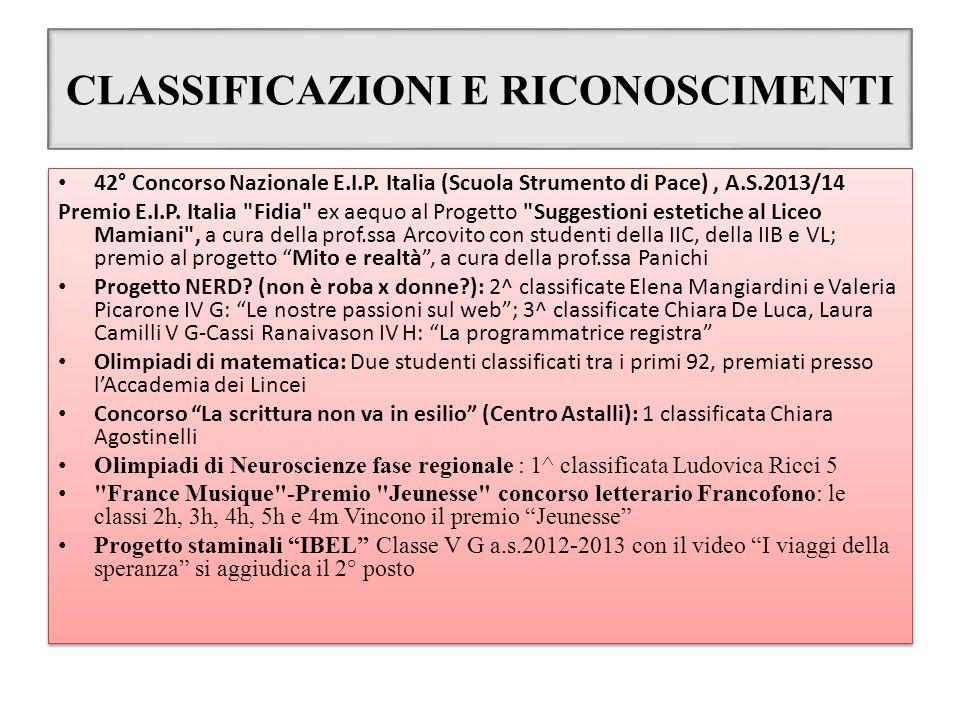 CLASSIFICAZIONI E RICONOSCIMENTI 42° Concorso Nazionale E.I.P. Italia (Scuola Strumento di Pace), A.S.2013/14 Premio E.I.P. Italia