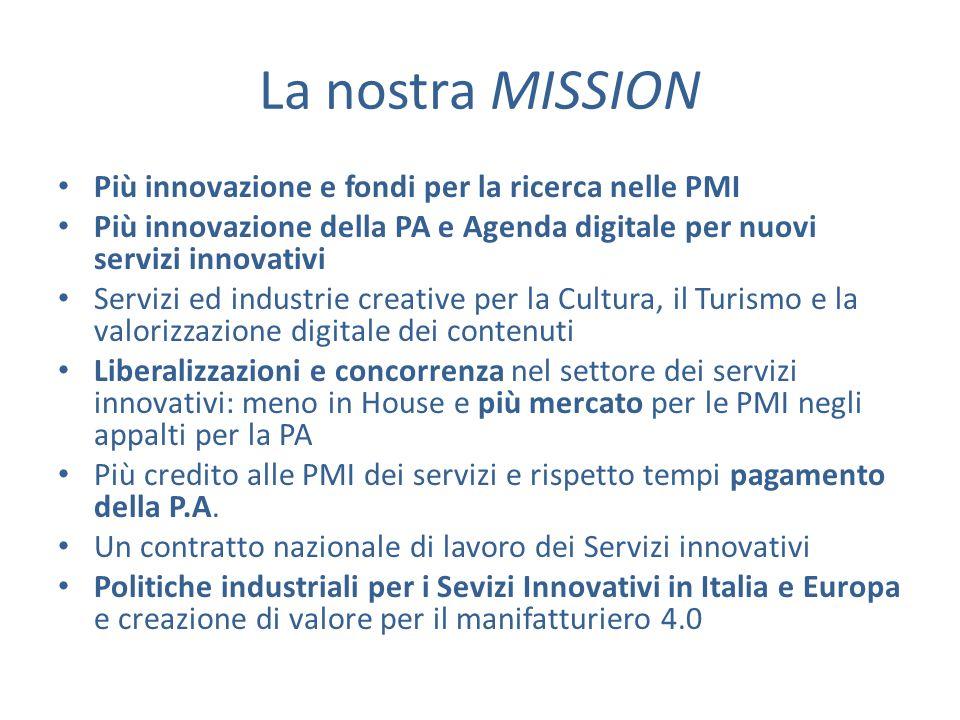 La nostra MISSION Più innovazione e fondi per la ricerca nelle PMI Più innovazione della PA e Agenda digitale per nuovi servizi innovativi Servizi ed