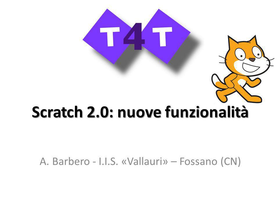 Scratch 2.0: nuove funzionalità A. Barbero - I.I.S. «Vallauri» – Fossano (CN)