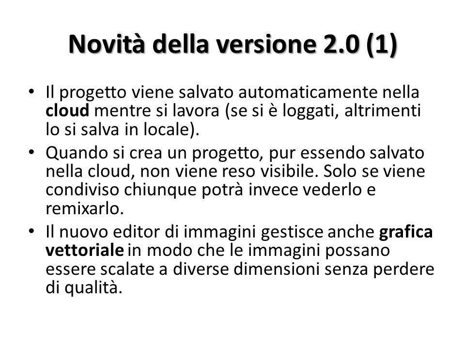 Novità della versione 2.0 (1) Il progetto viene salvato automaticamente nella cloud mentre si lavora (se si è loggati, altrimenti lo si salva in locale).