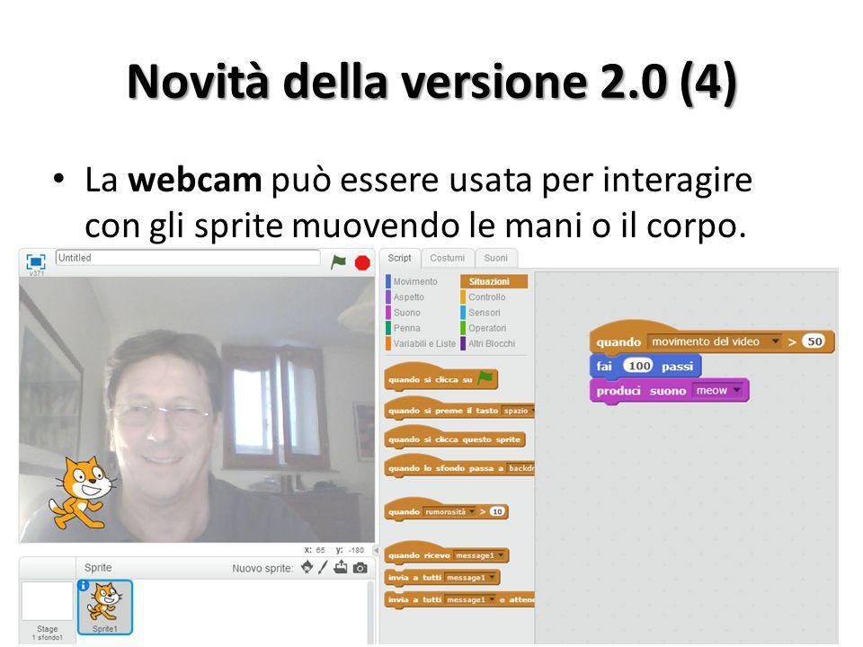 Novità della versione 2.0 (4) La webcam può essere usata per interagire con gli sprite muovendo le mani o il corpo.