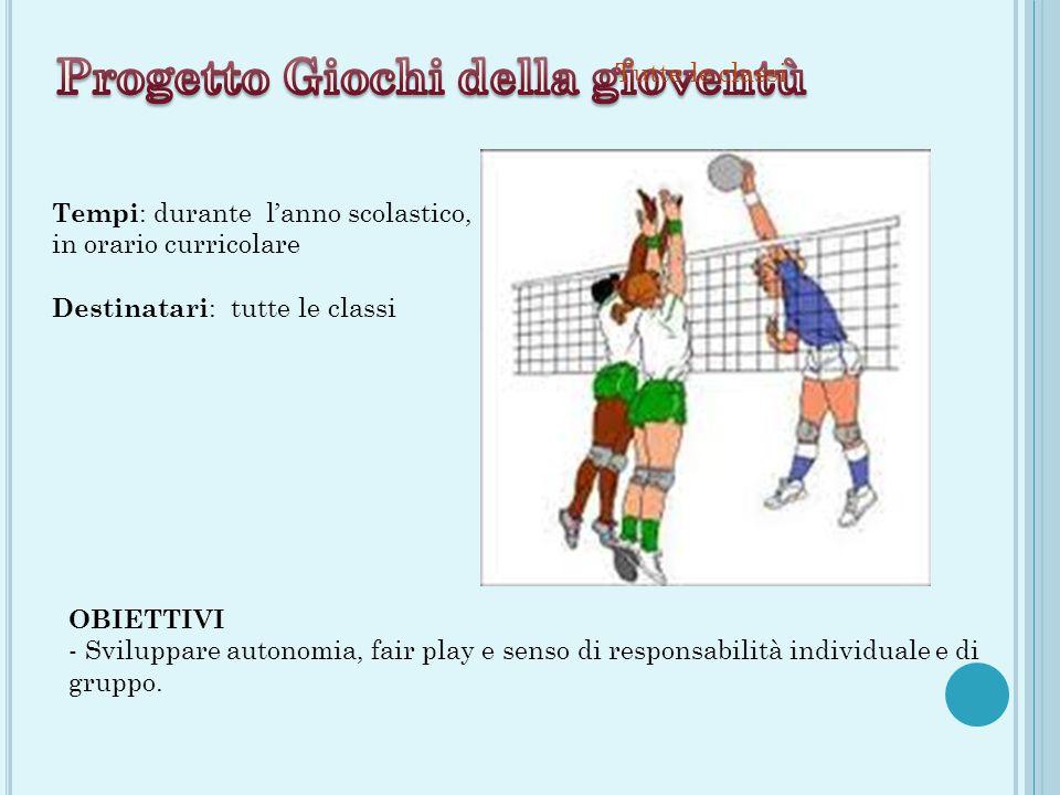 Tutte le classi OBIETTIVI - Sviluppare autonomia, fair play e senso di responsabilità individuale e di gruppo.