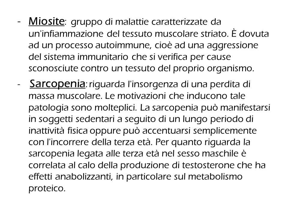 -Miosite : gruppo di malattie caratterizzate da un'infiammazione del tessuto muscolare striato. È dovuta ad un processo autoimmune, cioè ad una aggres