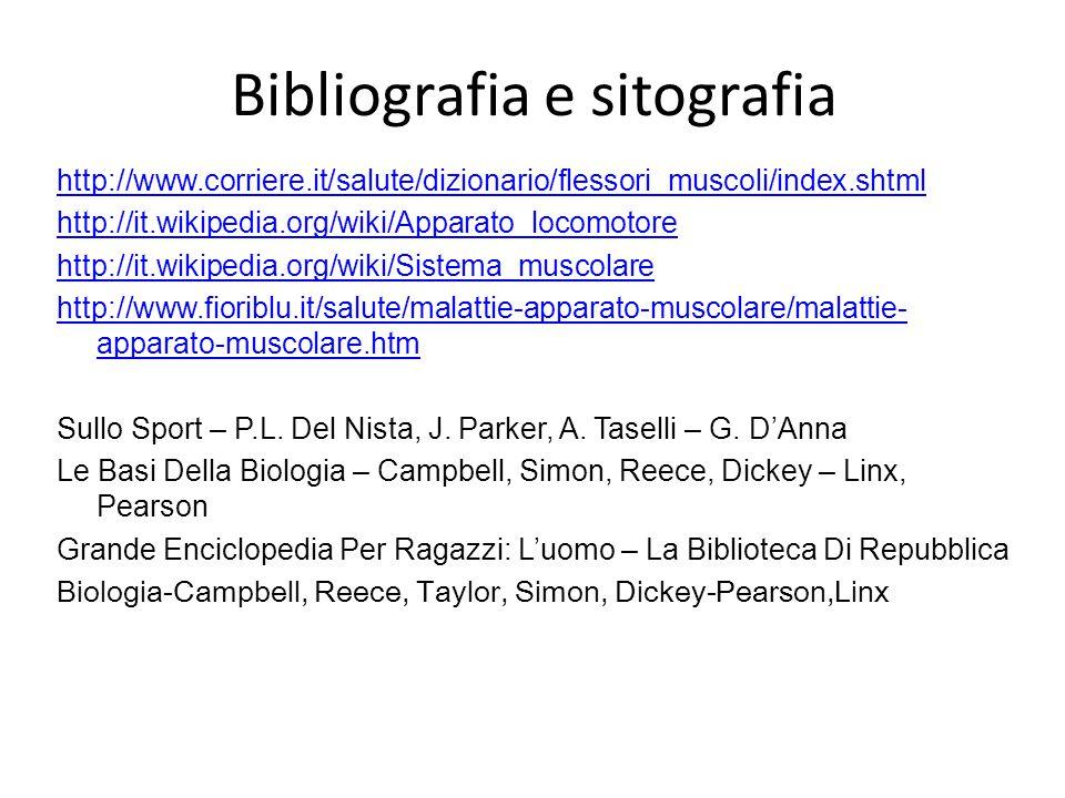 Bibliografia e sitografia http://www.corriere.it/salute/dizionario/flessori_muscoli/index.shtml http://it.wikipedia.org/wiki/Apparato_locomotore http: