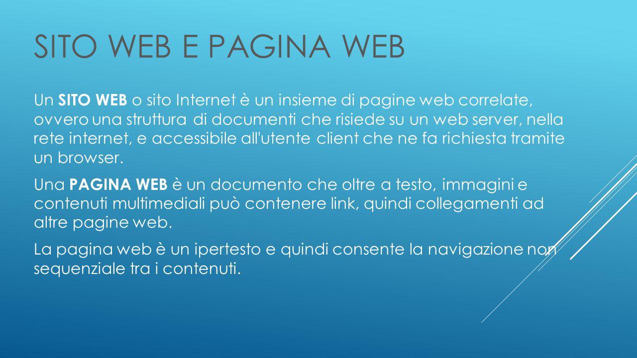 SITO WEB E PAGINA WEB Un SITO WEB o sito Internet è un insieme di pagine web correlate, ovvero una struttura di documenti che risiede su un web server, nella rete internet, e accessibile all utente client che ne fa richiesta tramite un browser.