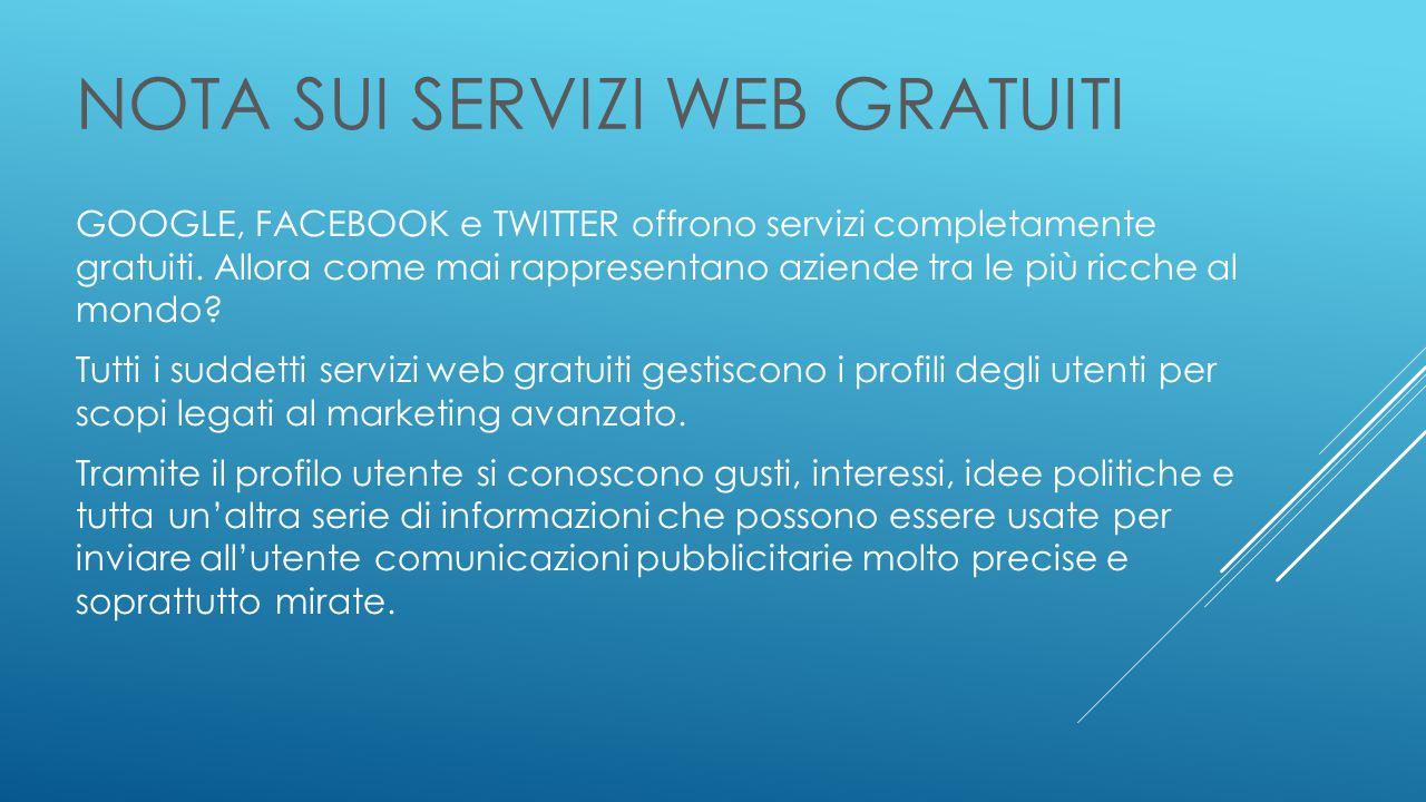 NOTA SUI SERVIZI WEB GRATUITI GOOGLE, FACEBOOK e TWITTER offrono servizi completamente gratuiti.