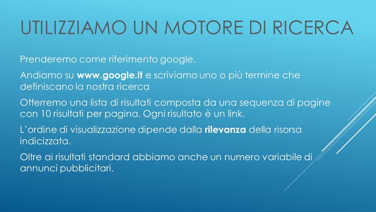 UTILIZZIAMO UN MOTORE DI RICERCA Prenderemo come riferimento google.